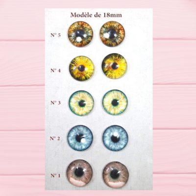 Eyechips en verre à coller de 18mm