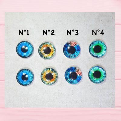Eyechips en verre à coller de 16mm